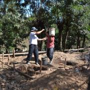 Blocs sanitaires en cours de construction